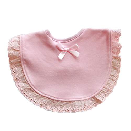 Voberry Newborn Toddler Infant Baby Girls Bowknot Lace Bibs Saliva Cartoon Towel (Pink)