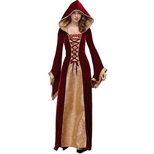 Ropa de Mujer Vestido de Capa Atractiva Traje Cosplay Ropa de Halloween Festival Disfraz Elegante de Princesa Cosplay(Rojo,M)