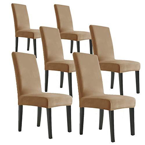 MAXIJIN Fundas elásticas de terciopelo para sillas de comedor, juego de 6 fundas extraíbles de ter