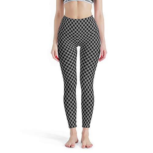 Knowikonwn - Pantalones de yoga para mujer, diseño de celosía digital, diseño de tablero de ajedrez, estampado de cintura alta, polainas para niñas y niños, color blanco