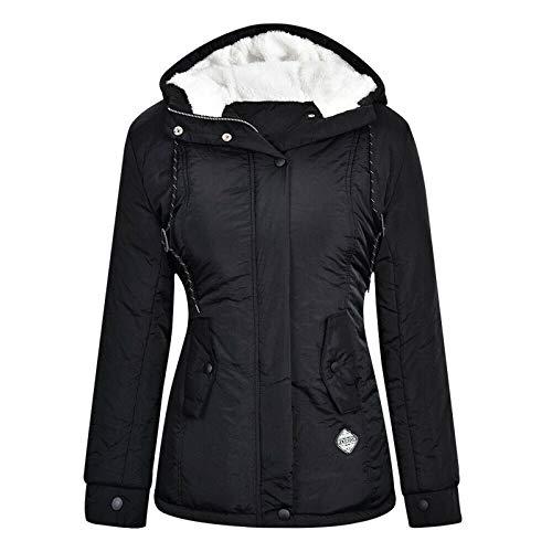 TWIOIOVE Veste de loisirs pour femme avec capuche, fermeture éclair, veste polaire épaisse, coupe-vent, respirante, veste demi-saison plus velours, veste softshell, confortable et chaude., Noir , XXL