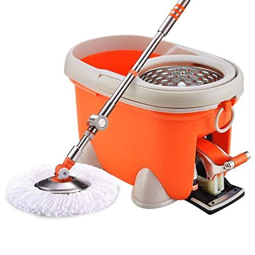 STRAW Mop - Spin Mop Bucket Deluxe de Acero Inoxidable Spin Dry Basket Mango telescópico Poste, Spinning Mop Bucket Kit