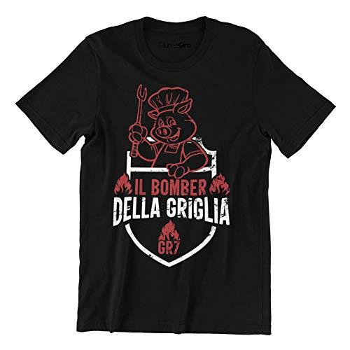 PiumeOro T-Shirt Unisex Divertente con Scritta Bomber della Griglia GR7 (Nero Vintage, L)