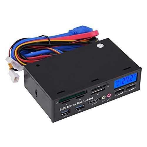 Lector de Tarjetas Interno multifunción Tablero de Instrumentos Multimedia de 5,25 Pulgadas Panel Frontal Hub USB 3.0 eSATA Audio Mic M2 TF SD MMC MS CF Lector de Tarjetas Todo en 1 con Pantalla LCD