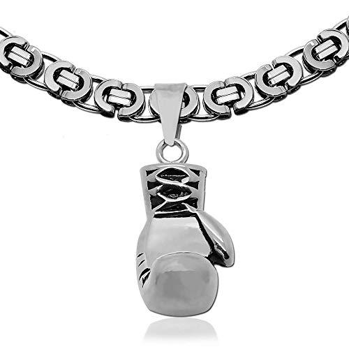 tumundo Königskette Edelstahl-Kette Halskette Ø 10mm 60cm Ketten-Anhänger Boxhandschuh Sport Boxen Anhänger Herren-Kette, Variante:Modell 9