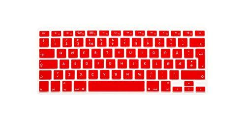 super-super Norwegian UK EU Silicone Keyboard Cover Skin protector film for MacBook Air Pro Retina 13 15 17 For Mac Air 13.3 Inch-Red