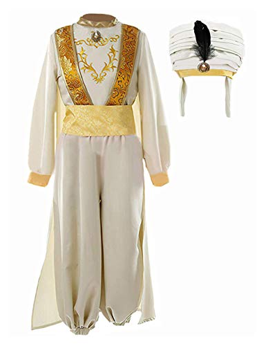 Tinyones Adult Mens Arabian Prince Costume Feather Hat Suits Halloween Party (L, Beige (Clothes+Hat))