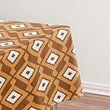 Ikat Pattern - Mantel de color marrón, óxido y crema, a prueba de aceite, a prueba de derrames, cubierta de mesa limpia para mesa de comedor de 137 x 183 cm