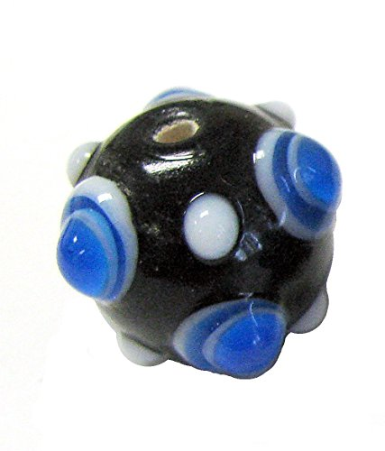 Linpeng 30PCS Murano Style Polka Dots, Millefiori, Dotted Bumps Around Lampwork Glass Beads/Black & Blue Color/Size Around 20mm with 2mm Hole