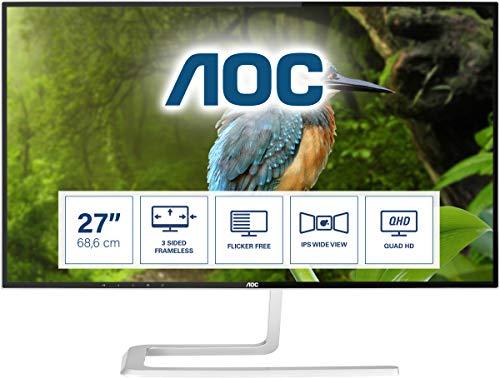 """AOC Q2781PQ Monitor LED da 27"""" IPS, QHD (2560 x 1440), Senza Bordi, Dsub, 2 x Hdmi, Display Port, Nero/Grigio"""