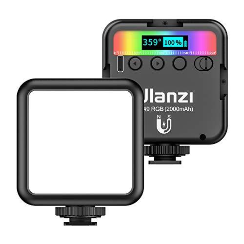 ulanzi VL49 RGB Pocket LED Video Light Fotografía Luz de Relleno 2500K-9000K Regulable CRI95 + Batería incorporada con Soportes de Zapata para retransmisiones en Vivo Entrevistas Retratos