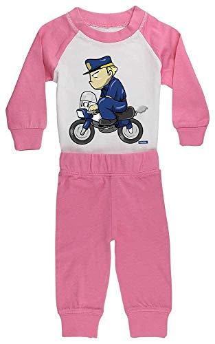HARIZ Baby Pyjama Polizist Lustig Motorrad Polizei Cops Inkl. Geschenk Karte Pink/Fuchsia 0-6 Monate