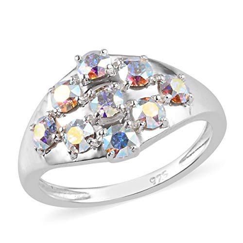 J Francis Cluster Ring Made with Swarovski Ab Crystal for Women in 925 Sterling Silver Wedding Jewellery Size J, TCW 0.002ct