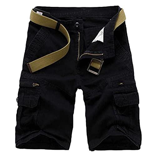 Men's Zip Deco Cargo Shorts Classic Multi Pockets Casual Basic Shorts Straight Leg Cotton Lightweight Short Pants (Black,38)