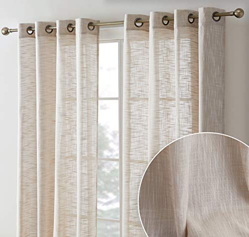HLC.ME Madison Faux Linen Textured Semi Sheer Privacy Sun Light Filtering Transparent Window Grommet Short Thick Curtains Drapery Panels for Bedroom & Office, 2 Panels (54 W x 72 L, Beige)