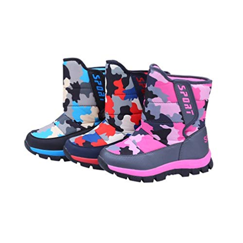 Holibanna Botas de neve infantis, sapatos esportivos de inverno e camuflagem, impermeáveis, antiderrapantes, botas até o tornozelo (adequado para pés de 20,3 cm), Azul, 1 Toddler