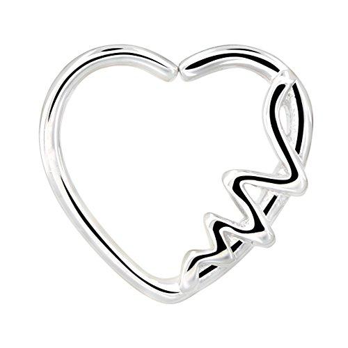 OUFER Body Piercing 16Gauge en Forma de corazón Onda de Cierre Izquierdo Daith Cartilag Tragus Earring Earrings (White)