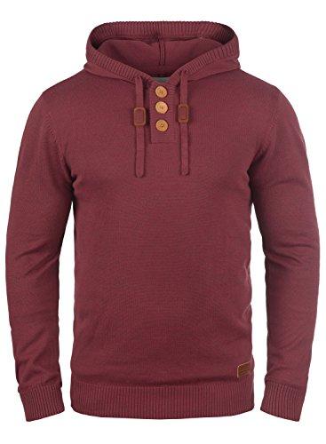 Blend Leon Herren Strickpullover Kapuzenpullover Feinstrick Pullover Mit Kapuze Und Knopfleiste, Größe:M, Farbe:Andorra Red (73811)