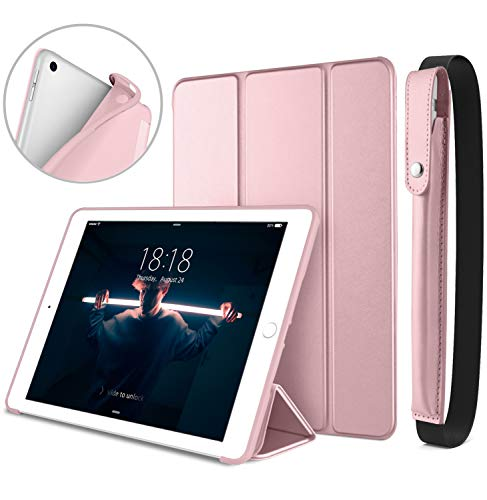 DTTO New iPad 9.7 Inch 2018 / 2017 Case with Apple Pencil Holder, Ultra Slim Smart Case with Trifold Stand and Soft TPU Back Cover for Apple iPad 5th / 6th Generation [Auto Sleep/Wake] - Rose Gold