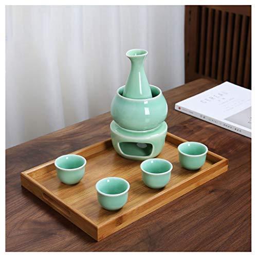 Fikujap Set de Sake Sirviendo, decoración de Estilo japonés, con 1 Taza de Sake 4 Tazas, Bandeja de bambú, para el hogar Hip Flask Warmer,C