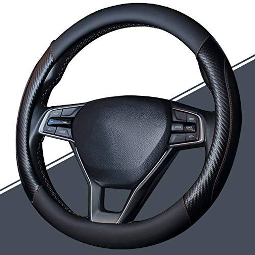 Pahajim Lenkradhülle Anti Rutsch Atmungsaktiv Lenkrad Abdeckung Lenkradbezug aus Mikrofaser-Leder 38cm komfortabel Auto Lenkrad Bezuege (Schwarz)
