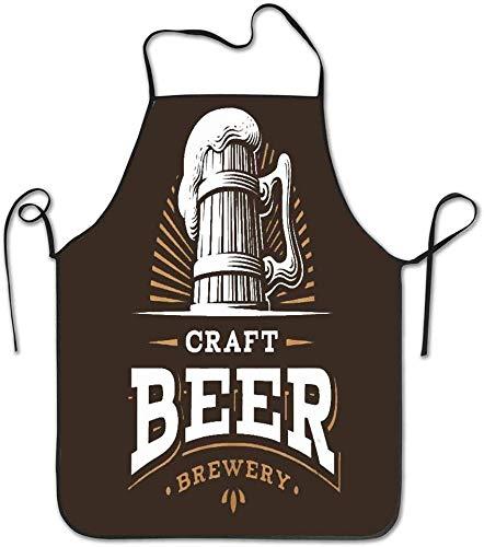 Not Applicable Taille Label Craft Beer Emblem Brauerei auf dunklen Retro Vintage Schürze Unisex Küchenschürze zum Kochen Backen Garten Reinigung