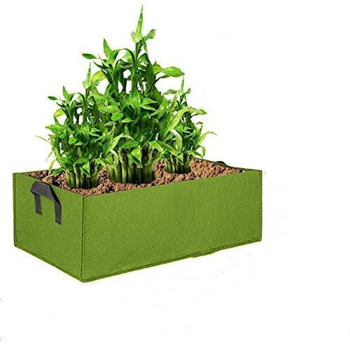 Lot de 3 sacs de plantation rectangulaires en tissu non tissé avec poignées, grande capacité pour pommes de terre, tomates, fleurs, légumes (grande taille (60 cm x 30 cm x 20 cm), vert)
