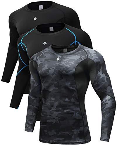 Milin Naco 3 Pack Men's Cool Dry Baselayer Tops Long Sleeve Compression Shirts-Black/Black/Camo Black-5XL