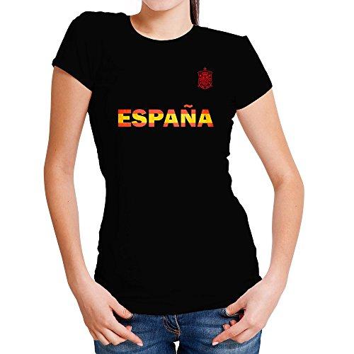 LolaPix Camiseta España Personalizada con tu Nombre y Dorsal | Selección Española | Varios Diseños Tallas | 100% Algodón | Mujer| Negra