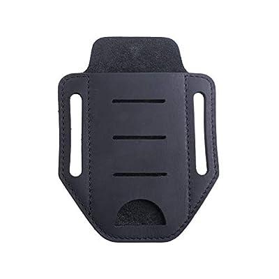 VIPERADE EDC Leather Sheath for Knife/Flashlight/Tactical pen/Tools and EDC Gear, Handmade Pocket EDC Organizer Leather Sheath, one Pocket Belt Sheath (Black)