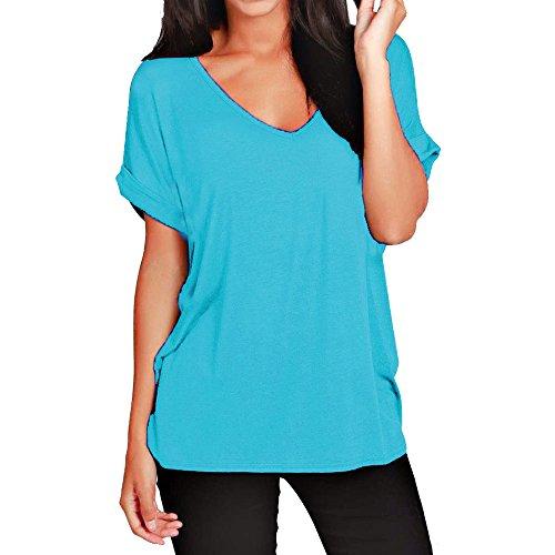 Damen-T-Shirt, lockere Passform, V-Ausschnitt, kurzärmelig, Top, 36-56 Gr. 42/44, türkis