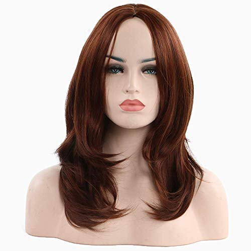 GJWIP High Density Cosplay Daily Party Wig Heat Permanent hair wigs for women Straight with Flat Bangs Synthetic wig Natural Wig Shoulder length Heat Resistant Fiber