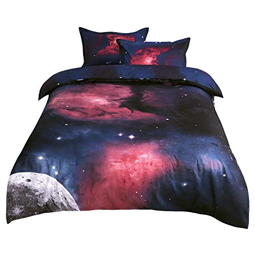 sourcing map 3D Printed Sky Stars Universe Night Pattern Duvet Cover Set Comforter Cover Pillowcases Set Single/Queen Size Fucsia Queen Size