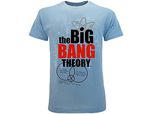 T-Shirt Originale Big Bang Theory Prodotto Ufficiale Azzurra (L Adulto)
