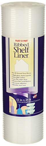 Plast-O-Mat Ribbed Shelf Liner, Clear, 12' x 25'