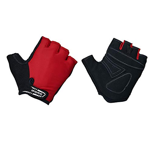 GripGrab X-Trainer Junior Kids Short Finger Padded Cycling Gloves - Fingerless Entry-Level Velcro Pull-Off Tabs - Blue, Red
