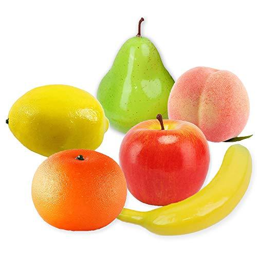 Frutas Decorativo Realistic Artificial Frutas Artificiales Decoracion Falso Manzana Plátano Naranja Pera Durazno Limón para Decorativas Mostrar Creativa Home Enseñanza Photography Props 6 Pieza