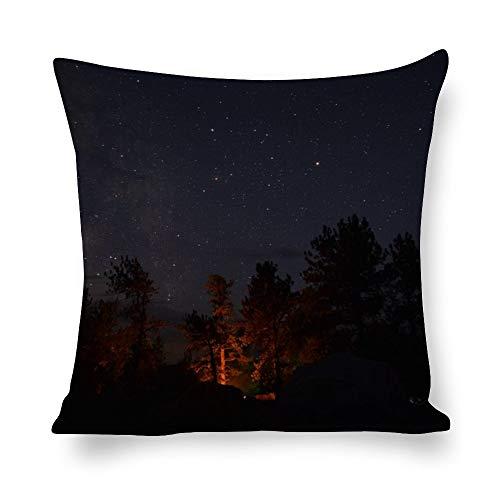 N/ A - Fundas de almohada con diseño de silueta decorativa de árboles durante la noche, decoración del hogar, bosque, fundas de cojín de lino con impresión fotográfica para sofá de 24 pulgadas, l7bo0g9f6ctp