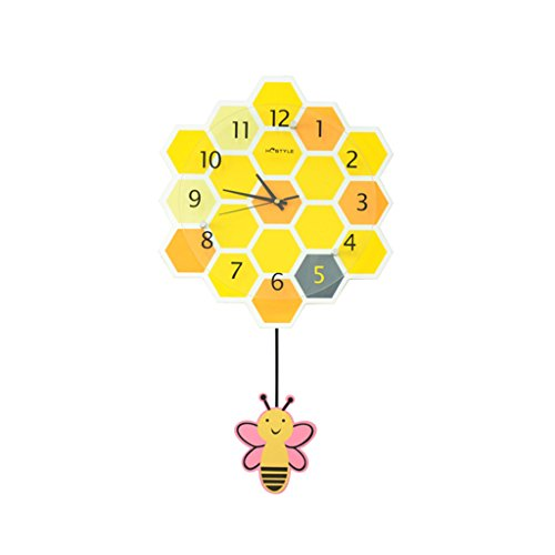 Sunjun couleur Forme en nid d'abeille Horloge murale pour chambre d'enfant Création Décoration d'horloge en quartz Horloge murale Chambre Mute Montre de poche Artisanat Avec pendule