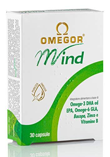 OMEGOR Mind, Omega-3 DHA e Bacopa Monnieri con Vitamine B, tonico per Memoria e Concentrazione, per Bambini e Adulti, 30 capsule