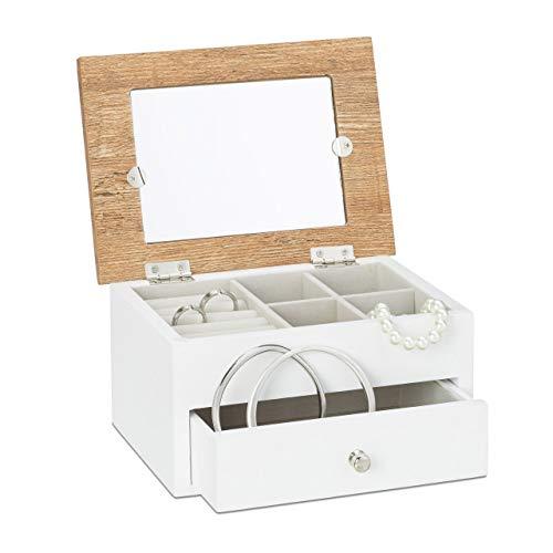 Relaxdays Joyero con Portafotos, Madera-Cristal-Tela, Blanco, 9,5 x 18,5 x 13,5 cm