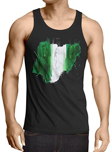 CottonCloud Flagge Nigeria Herren Tank Top Fußball Sport Afrika WM EM Fahne, Größe:XL, Farbe:Schwarz