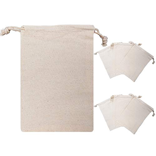 !RAKRISA 50 Pcs 4x6 Inch Muslin Double Drawstring Bags | Light Tan Muslin Bags for Party Favors, Baked Treats & Gifts