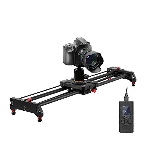 "GVM Motorized Camera Slider, 31"" Carbon Fiber Dolly Rail Camera Slider with Time-Lapse Photography, Tracking Shooting and 120 Degree Panoramic Shooting for Most Cameras, with Remote Controller"