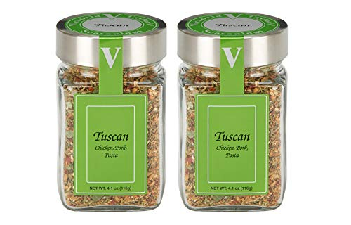 Tuscan- 4.1 oz. Jar (Pack of 2) Italian Seasoning. A unique taste of Tuscany in this blend of rosemary, oregano, garlic, toasted sesame, red bell and chili pepper.