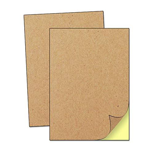 A4 Kraft Braune Aufkleber Etiketten Papier, Tintenstrahl/Laser Drucken - Matte Oberfläche, 50 Stück