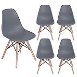 HOMEMAKE FURNITURE Juego de 4 sillas de comedor de estilo moderno premontadas Silla de Eames moderna...
