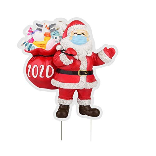 Nopeak 12 X11in Christmas Yard Signs with Stakes for Lawn Yard Santa Claus Signs Xmas Holiday Outdoor Lawn Decorations (A)