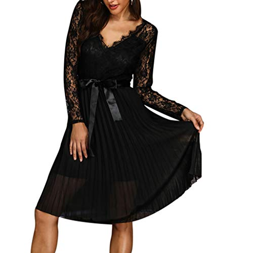 Best Price Pumsun Womens V-Neck Lace Mesh Long Sleeve Dress Bandage Bodice Pleated Casual Dress Part...