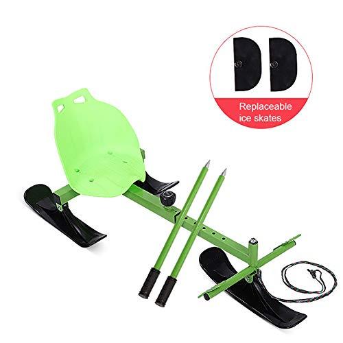 MILECN Skate Ski Snow Racer Schlitten, mit Lenkpedal und Zugseil, für Kinder Erwachsene EIS oder Schnee Skifahren Snowboard Spielzeug,Grün